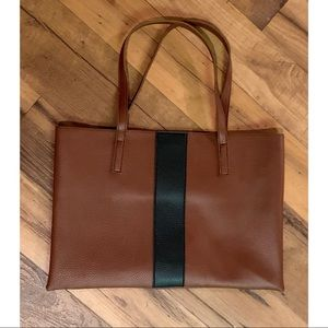 VINCE CAMUTO BROWN/BLACK LEATHER BAG